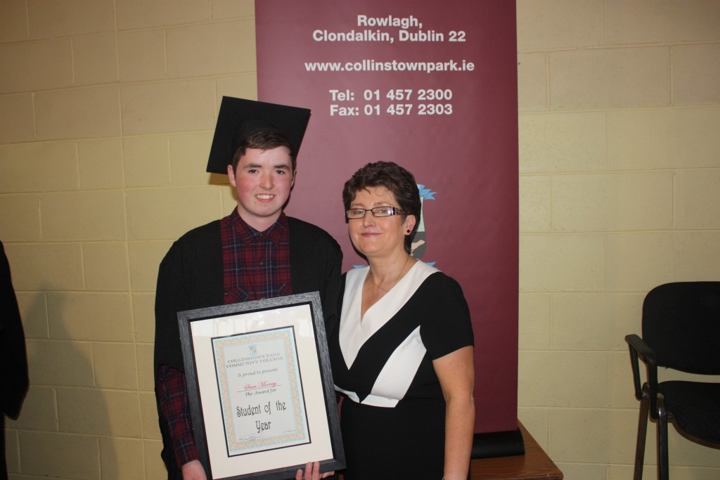 Seán Mooney, Student of the Year 2016, with Ms Connolly, Year Head