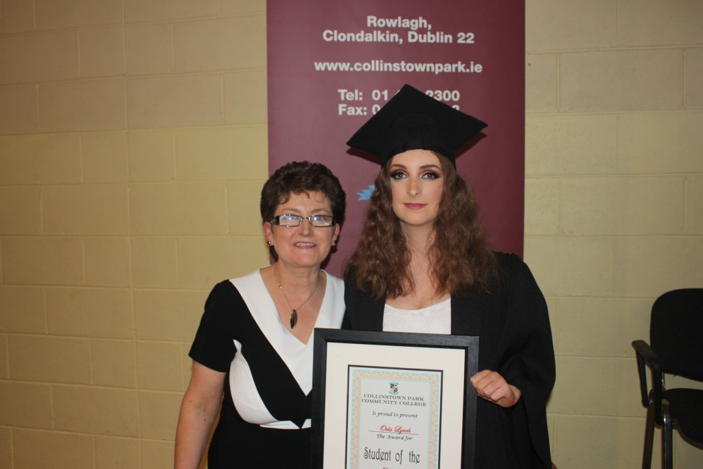 Student of the Year 2016, Orla Lynch, with Ms Connolly, Year Head