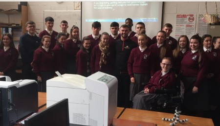 some of the sixth year LCVP students with Jaimie