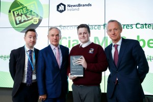 Repro Free: 26/04/2018 Daragh Keany, member of the judging panel is pictured with Richard Bruton TD, Minister for Education and Skills presenting Cian McCabe, Collinstown Park Community College, Clondalkin, Dublin with 2nd place in the Features category at the NewsBrands Ireland Press Pass awards with Vincent Crowley, Chairman NewsBrands Ireland. Picture Andres Poveda