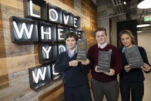 Repro Free: 26/04/2018 Scarlett Rodrigues, Dominican College, Taylor's Hill, (left) Winner of the Features category in the NewsBrands Ireland Press Pass awards is pictured with 2nd place Cian McCabe, Collinstown Park Community College, Clondalkin, Dublin nad 3rd place winner Gemma Good, Carrigallen Vocational School, Co. Leitrim. Picture Andres Poveda