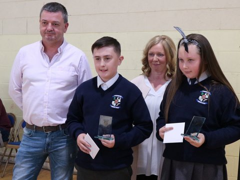 First year winners Cian Somers and Courtney Whelan McManus with Principal Ms Duffy and Cathal Murphy  from Microsoft Datacentres