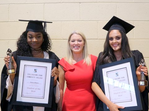 Ms McNamee with the Female Students of the Year: Anita Ikharo and Michaela Higgins