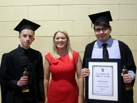 Ms McNamee with the Male Students of the Year, Gavin O'Reilly and Bartosz Suwala