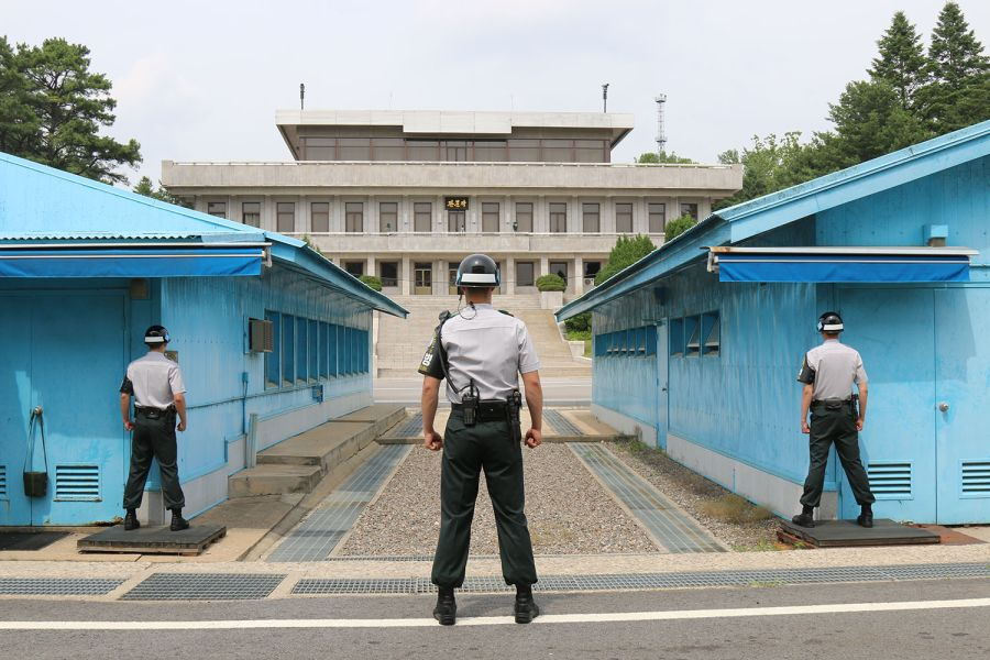 Soldiers stationed at the North Korea and South Korea border.
